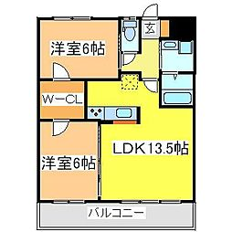 広島県東広島市西条町御薗宇の賃貸マンションの間取り