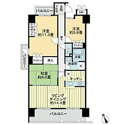 徳島県徳島市かちどき橋1丁目の賃貸マンションの間取り