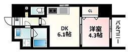 Osaka Metro御堂筋線 江坂駅 徒歩15分の賃貸マンション 1階1DKの間取り