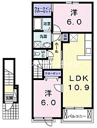 岡山県赤磐市桜が丘西1丁目の賃貸アパートの間取り