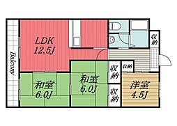 京成本線 京成成田駅 バス9分 新木戸下車 徒歩8分の賃貸マンション 3階3LDKの間取り