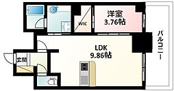 Osaka Metro御堂筋線 江坂駅 徒歩5分の賃貸マンション 14階1LDKの間取り