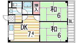 大阪府大東市新田本町の賃貸マンションの間取り