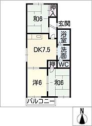 ポピーハイツ D棟[1階]の間取り