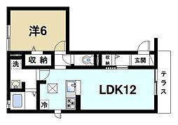 JR関西本線 奈良駅 バス11分 恋の窪町南口下車 徒歩4分の賃貸アパート 1階1LDKの間取り