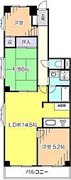 東京都小平市栄町3丁目の賃貸マンションの間取り