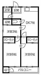 井川マンション[4A号室]の間取り