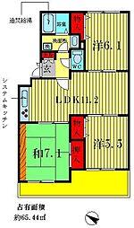 千葉県松戸市小金原9丁目の賃貸マンションの間取り