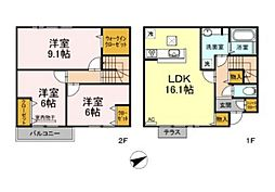 JR山陽本線 西川原駅 徒歩5分の賃貸タウンハウス 1階3LDKの間取り