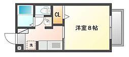 岡山県岡山市北区中仙道2丁目の賃貸アパートの間取り