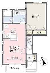 デザインメゾン中田南 B 1階1LDKの間取り