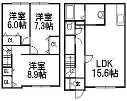 [テラスハウス] 北海道札幌市西区二十四軒二条4丁目 の賃貸【/】の間取り