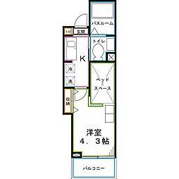 JR中央本線 西国分寺駅 徒歩10分の賃貸マンション 3階1Kの間取り
