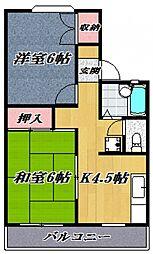 プレジール石坂[102号室号室]の間取り