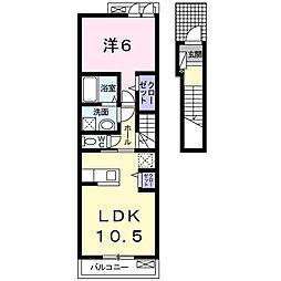 JR山陽本線 北長瀬駅 徒歩22分の賃貸アパート 2階1LDKの間取り