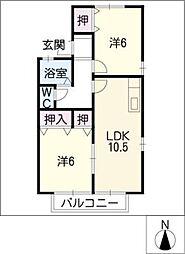 クリサンテームB[2階]の間取り