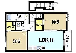 奈良県奈良市敷島町2丁目の賃貸アパートの間取り