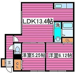 JR学園都市線 太平駅 徒歩4分の賃貸アパート 2階2LDKの間取り