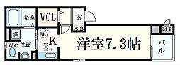 JR東海道・山陽本線 摂津本山駅 徒歩7分の賃貸マンション 3階1Kの間取り