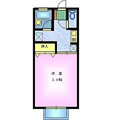 セジュール・ヒバリ 2階1Kの間取り