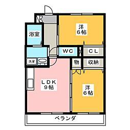 クレール姥子山[2階]の間取り