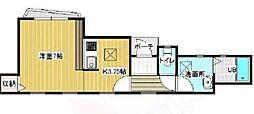 WOOD HOUSE IKEDA 1階ワンルームの間取り