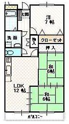 福岡県福岡市早良区小田部7丁目の賃貸マンションの間取り