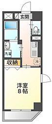 岡山電気軌道清輝橋線 大雲寺前駅 徒歩6分の賃貸マンション 6階1Kの間取り