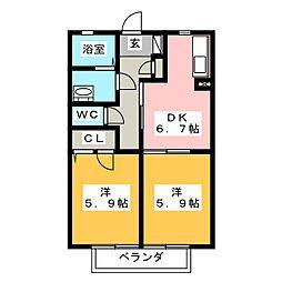 カルティエ五番館[1階]の間取り