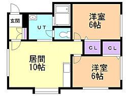 アイビーハウス 1階2LDKの間取り