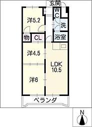 サクセス小田井[5階]の間取り