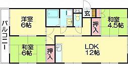清原ハイツ[1階]の間取り