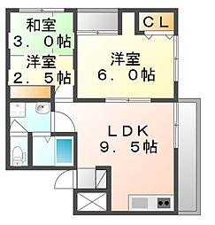 広島県福山市本庄町中2丁目の賃貸マンションの間取り
