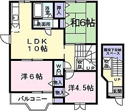 神奈川県伊勢原市沼目7丁目の賃貸アパートの間取り