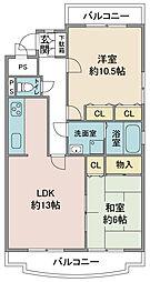 埼玉県鶴ヶ島市富士見5丁目の賃貸マンションの間取り