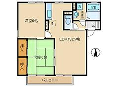 キャッスル飯塚A棟[A102号室]の間取り