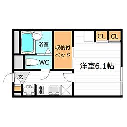 大阪府大阪市大正区三軒家西2丁目の賃貸アパートの間取り