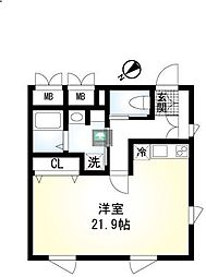 hisui apartment 3階ワンルームの間取り