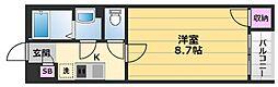 クレイノGRACY浜寺 2階1Kの間取り