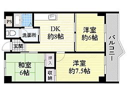 JR東海道・山陽本線 千里丘駅 徒歩18分の賃貸マンション 2階3DKの間取り