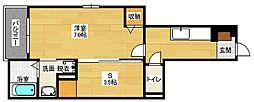 広島県広島市安佐南区長束西2丁目の賃貸アパートの間取り