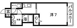 JR大阪環状線 寺田町駅 徒歩4分の賃貸マンション 12階1Kの間取り