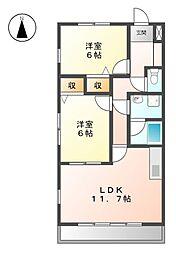 カサ・フェリス中柳[4階]の間取り