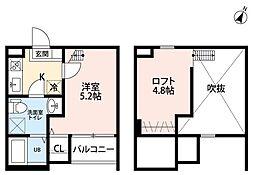 愛知県名古屋市熱田区須賀町の賃貸アパートの間取り