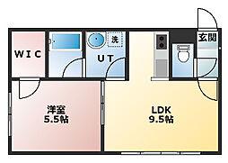 ステージノア東札幌 1階1DKの間取り