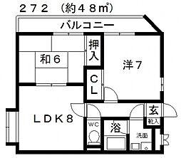 西田マンション[401号室号室]の間取り