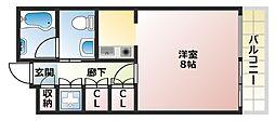 大阪府大阪市東住吉区矢田4の賃貸マンションの間取り