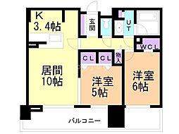 デュオヒルズ円山ファースト 8階2LDKの間取り