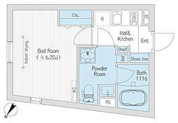 都営大江戸線 代々木駅 徒歩5分の賃貸マンション 2階1Kの間取り