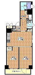 ハーモニーレジデンス月島 4階2LDKの間取り